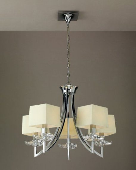 Akira Żyrandol – klasyczny – kolor beżowy, srebrny