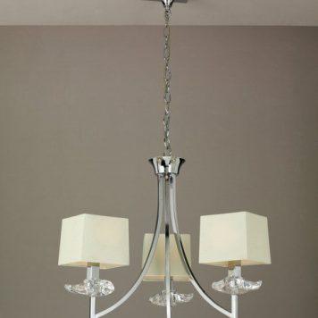 Akira Żyrandol – Z abażurem – kolor beżowy, srebrny