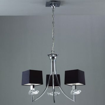 Akira Żyrandol – Z abażurem – kolor srebrny, Czarny