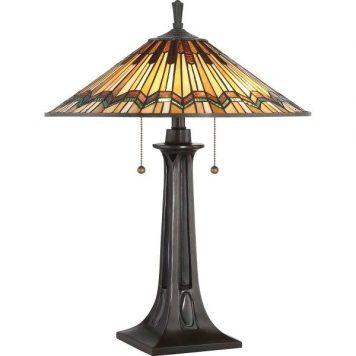 Alcott Lampa stołowa – Witrażowe – kolor brązowy, pomarańczowy