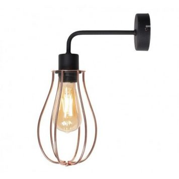 Allegra  Lampa industrialna – Do czytania – kolor miedź, złoty, Czarny