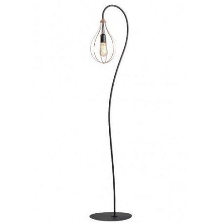 Allegra  Lampa podłogowa – industrialny – kolor miedź, Czarny