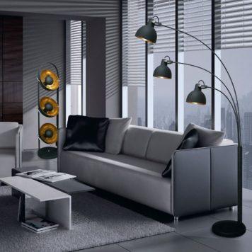 Antenne Lampa podłogowa – industrialny – kolor złoty, Czarny
