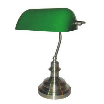 Bank  Lampa klasyczna – Biurkowe – kolor srebrny, Zielony
