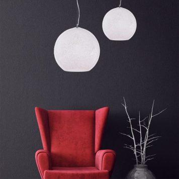 Bero Lampa wisząca – szklane – kolor biały, srebrny, transparentny