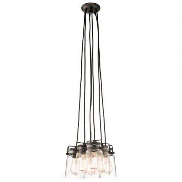 Brinley Lampa wisząca – industrialny – kolor brązowy, transparentny