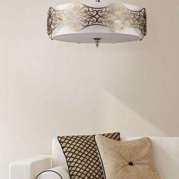 Burgeon Lampa wisząca – klasyczny – kolor beżowy, biały, brązowy