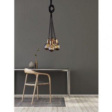 Cable  Lampa wisząca – industrialny – kolor miedź, Czarny