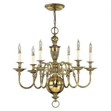 Cambridge 1 Żyrandol – klasyczny – kolor mosiądz, złoty