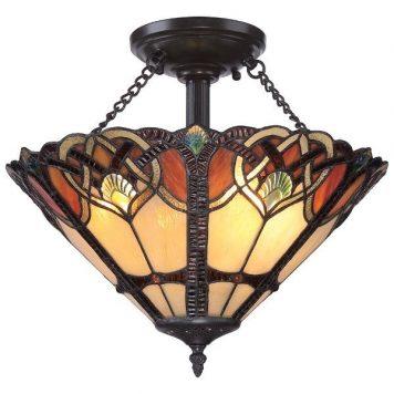 Cambridge Lampa sufitowa – Witrażowe – kolor brązowy, pomarańczowy