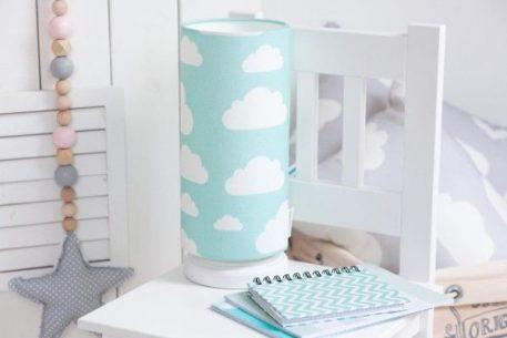Chmurki Mint Lampa stołowa – Z abażurem – kolor Niebieski, Zielony