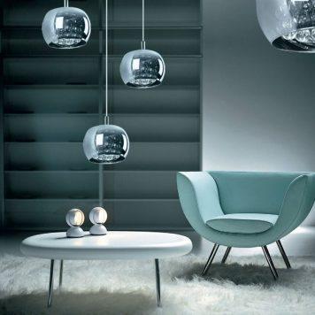 Crystal  Lampa wisząca – Styl glamour – kolor Szary