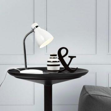 Cyclone Lampa stołowa – Styl skandynawski – kolor biały