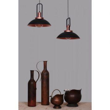 Ebra  Lampa wisząca – industrialny – kolor miedź, Czarny