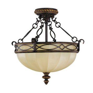 Eleonor  Lampa sufitowa – szklane – kolor beżowy, brązowy