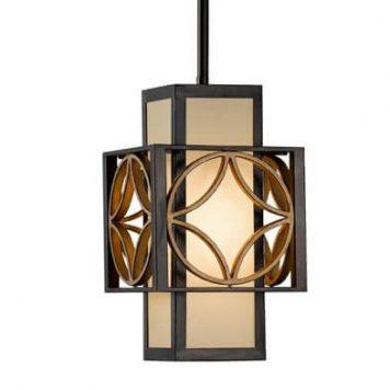Essex Lampa wisząca – Z abażurem – kolor beżowy, brązowy