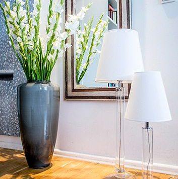 Fjord Lampa stołowa – klasyczny – kolor biały, transparentny