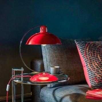 Franklin  Lampa stołowa – klasyczny – kolor srebrny, Czerwony