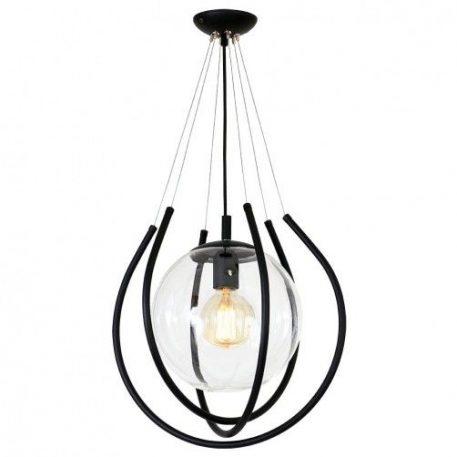 From  Lampa wisząca – szklane – kolor transparentny, Czarny