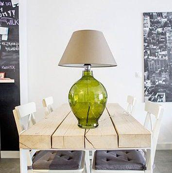 Genova  Lampa modern classic – szklane – kolor beżowy, Szary, Zielony