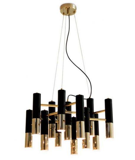 Golden Pipe Żyrandol – kolor złoty, Czarny