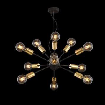Jackson  Żyrandol – industrialny – kolor złoty, Czarny