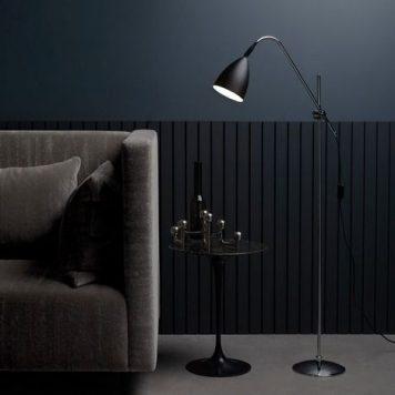 Joel Lampa podłogowa – Styl nowoczesny – kolor srebrny, Czarny