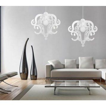 Katerina  Lampa wisząca – Styl glamour – kolor biały