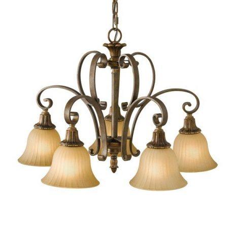 Kelham Żyrandol – szklane – kolor beżowy, brązowy
