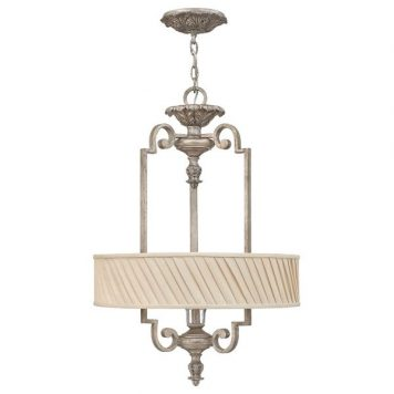 Kingsley Lampa wisząca – Z abażurem – kolor beżowy, srebrny