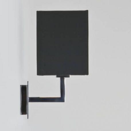 Kinkiet - polerowany chrom, czarna tkanina - Astro
