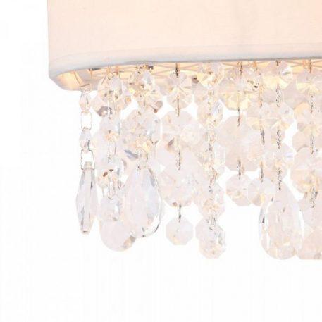 Lampa glamour - biała tkanina, kryształki - Maytoni