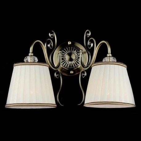 Lampa klasyczna - antyczny brąz, biała tkanina - Maytoni
