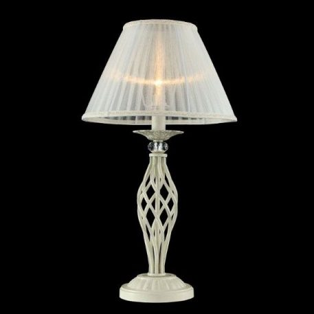 Lampa klasyczna - biały metal, złote przetarcia, organza - Maytoni