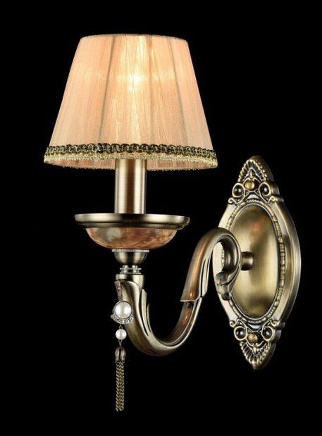 Lampa klasyczna - brązowy metal, brzoskwiniowa organza - Maytoni