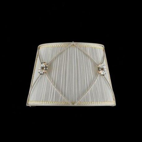 Lampa klasyczna - kremowa organza, metal - perłowa biel, szklane kwiatki - Maytoni