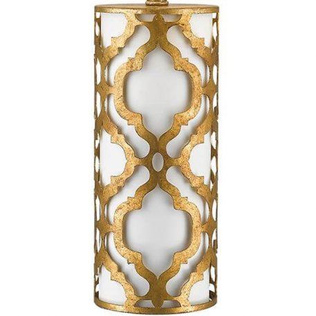 Lampa klasyczna - postarzany złoty, kremowa tkanina - Ardant Decor
