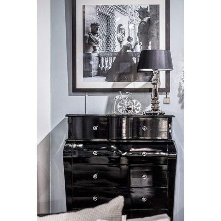 Lampa modern classic - szkło barwione na szaro, czarny abażur biały w środku - 4concepts