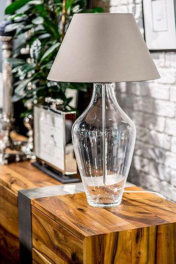 Lampa modern classic - bezbarwne szkło, tkanina - 4concepts