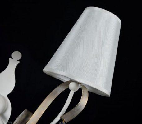 Lampa modern classic - biała tkanina, biały i złoty metal, kryształki - Maytoni