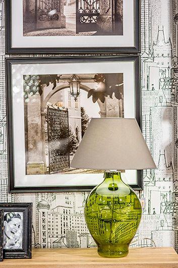 Lampa modern classic Styl modern classic beżowy, Szary, Zielony  - Sypialnia