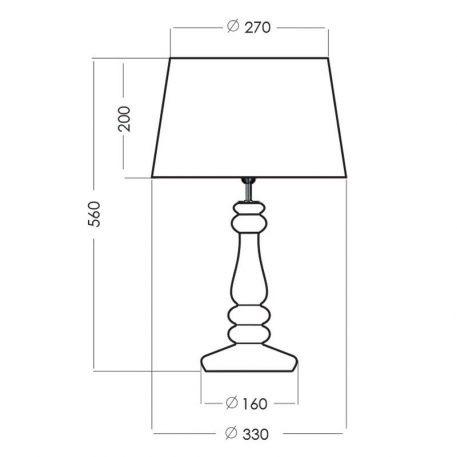 Lampa modern classic Z abażurem transparentny, Czarny, Szary  - Sypialnia