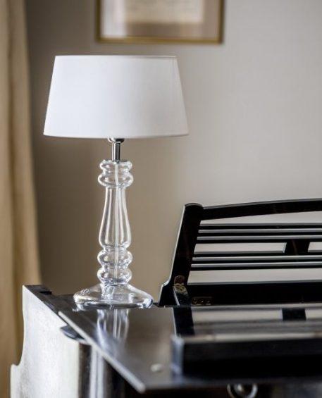 Lampa modern classic - szkło barwione na miedziany oddcień, biała tkanina  - 4concepts