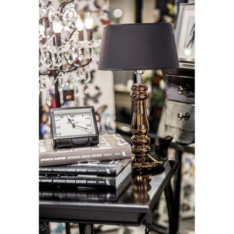 Lampa modern classic - szkło barwione na odcień miedzi, czarny abażur złoty w środku - 4concepts