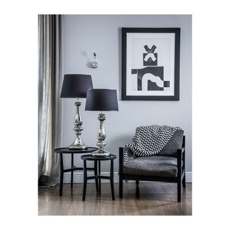 Lampa modern classic - szkło pokryte patyną, czarny abażur miedziany w środku - 4concepts