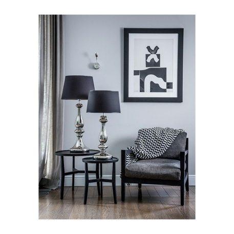 Lampa modern classic - transparentne szkło, czarny abażur srebrny w środku - 4concepts