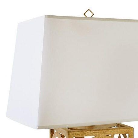 Lampa modern classic Z abażurem biały, złoty  - Sypialnia