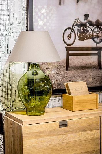 Lampa modern classic - zielone szkło, szaro-beżowa tkanina - 4concepts