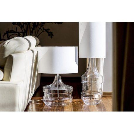 Lampa nowoczesna - bezbarwne szkło z pasami malowanymi na kolor srebrny mat, biały abażur - 4concepts