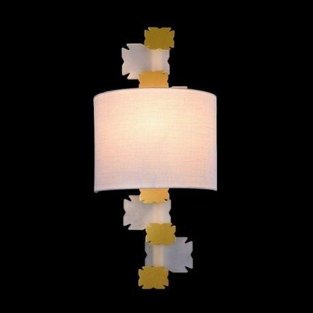 Lampa nowoczesna - biała tkanina, metal - biel, mosiądz - Maytoni